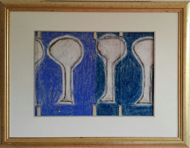 FAMILY - Oil crayon & photo- pieces (Eiffels- tower, Paris) on cardboard, framed. Ca. 34 x 44 cms.
